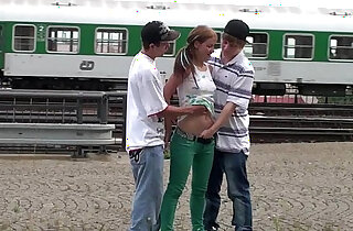 Young teens risky PUBLIC railway station threesome - 21:40