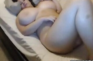 Cute blonde babe playing with huge tits masturbates on webcam - 10:04
