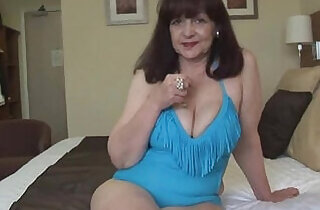 Attractive big tits hot lady in tight swimsuit playing on fitness ball - 7:41