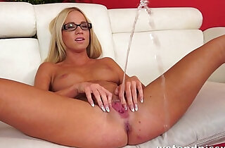 Pretty blonde in glasses uses a jelly dildo on her wet pussy orgasm - 11:29