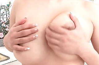 Milk covered HInano fondles her big tits and toys pussy - 5:46