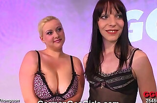 Blonde brunette babes get their faces splattered with goo - 14:37
