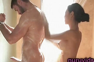 Cute asian babe gives a hot massage under shower - 6:22