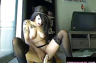 Cute Emo Girl Ridding Dildo and Squirt Porn - 7:36