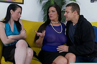 Stepmom and stepdaughter sharing cock - 5:43