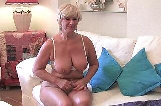 Chubby grandma with big old tits fucks a vibrator - 5:37
