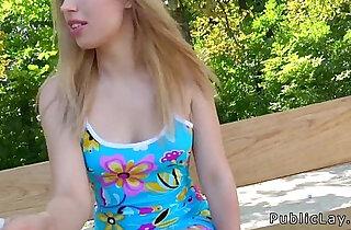 Blonde amateur flashing titties outdoors - 8:13